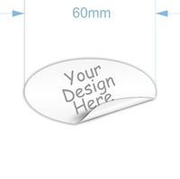 Picture of 30 x 60mm Oval. Custom Sticker