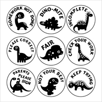 Picture of 9 x DINOSAUR Stamper Set- 20 mm Round