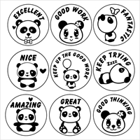 Picture of 9 x PANDA Stamper Set- 20 mm Round