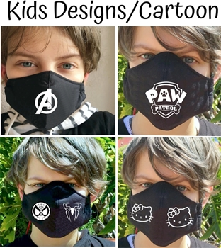 Picture of Kids Mask Cotton Black with image *Kids Cartoons & Designs*