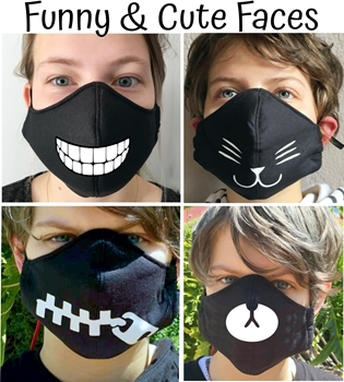 Picture of Mask Cotton Black with image *Funny faces*
