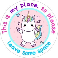 Picture of Social Distancing Stickers/Decals - Unicorn-12 units
