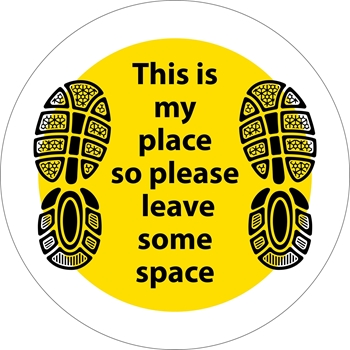 Picture of Social Distancing Stickers/Decals-Shoes Yellow