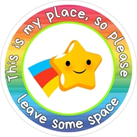 Picture of Social Distancing Stickers/Decals-Stars & Rainbows